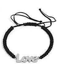 Ladies Black Corded Charm Bracelet