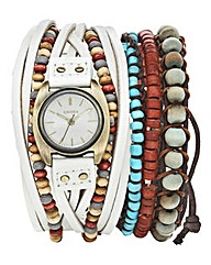 Kahuna White Strap Watch & Bracelet Set