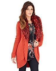 Joanna Hope Faux Fur Trim Cardigan