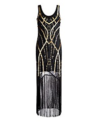 Joanna Hope Sequin Fringe Maxi Dress