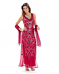 Joanna Hope Sequin Maxi Dress and Scarf