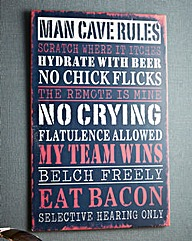 Man Cave Rules Metal Wall Plaque