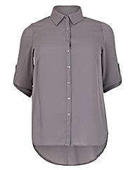 emily Roll Sleeve Silky Blouse