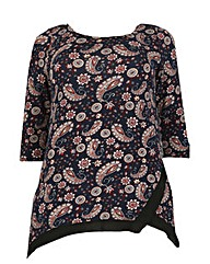 Samya Paisley Print Trim Detail Top