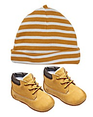 Timberland Crib Bootie with Hat Set