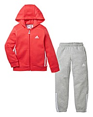 adidas Girls Pink And Grey Tracksuit
