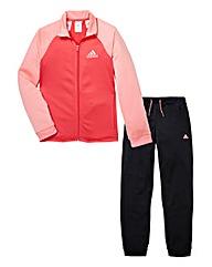 adidas Girls Pink Tracksuit