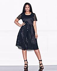 Lovedrobe Crochet Lace Midi Skater Dress