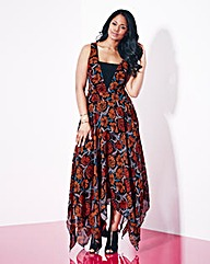 Grazia Floral Print Hanky Hem Dress