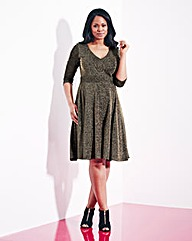Grazia Metallic Knit Skater Dress