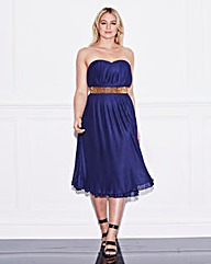 Lovedrobe Stud Waist Pleated Midi Dress