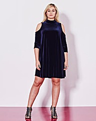 Grazia Open Shoulder Velour Swing Dress