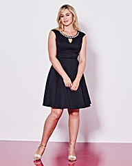 Grazia Snake Jacquard Skater Dress