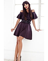 Jameela Jamil Frill Scuba Dress