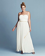 Lovedrobe Pleated Strapless Maxi Dress