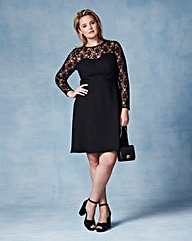 Grazia Lace Detail Skater Dress