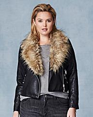 Lovedrobe Biker Jacket with Fur Trim