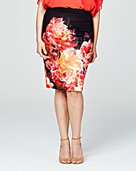 Coast Peony Print Pencil Skirt
