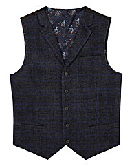 Black Label Checked Wool Waistcoat Long