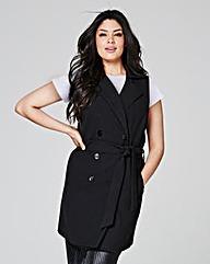 Sleeveless Belted Jacket