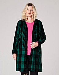 Green Check Duffle Coat Length 37ins