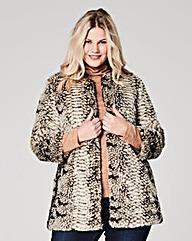 Snake Print Faux Fur Coat
