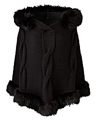 Joanna Hope Faux Fur Trim Poncho