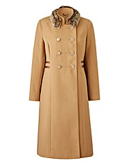 Joanna Hope Faux Fur Trim Military Coat