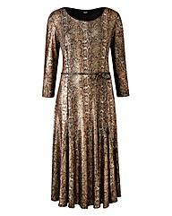 Joanna Hope Snake Print Metallic Dress