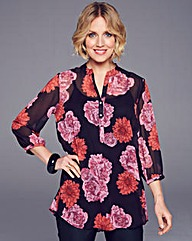 Nightingales Floral Pleat Back Blouse
