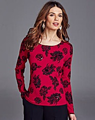 Nightingales Printed Embellished Sweater