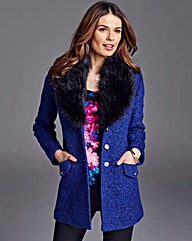Nightingales Faux Fur Trim Boucle Coat