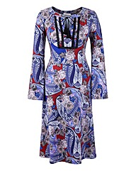 Paisley Printed Dress with Ties