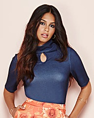 Textured Keyhole Jersey Top