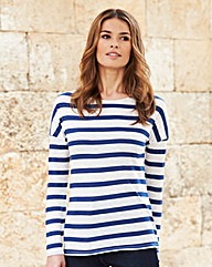 Nightingales Linen Mix Stripe Jersey Top