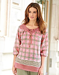 Nightingales Lace Up Printed Blouse