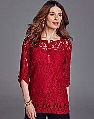 Nightingales lace and suedette top