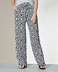 Print Wide Leg Jersey Trousers - Short
