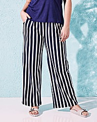 Stripe Wide-Leg Jersey Trousers XShort