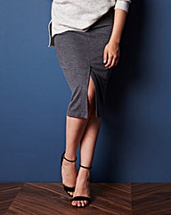 Stretch Jersey Button Skirt