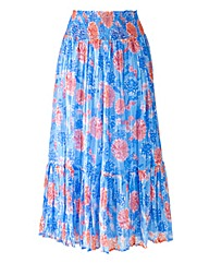 Nightingales Print Tiered Skirt