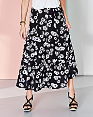 Daisy Print Linen Mix Skirt 30in