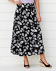 Daisy Print Linen Mix Skirt 25in