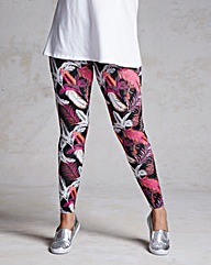 Feather Print Stretch Leggings - Regular