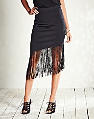 Scuba Fringe Pencil Skirt