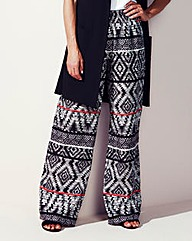 Shirred Waist Wide Leg Trouser Regular