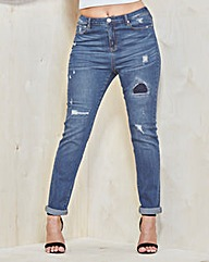 Simply Be Hollie Girlfriend Jeans Long