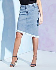 Asymmetric Hem Denim Skirt