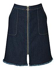 Zip-Front Denim Mini Skirt