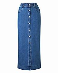 Denim Button-Through Maxi Skirt